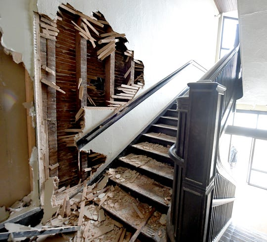 Damage near a stairway at Hilltop Apartments in Red Lion, Sunday, Feb. 16, 2020, after it was damaged by a fire which started just before midnight on Saturday. Bill Kalina photo