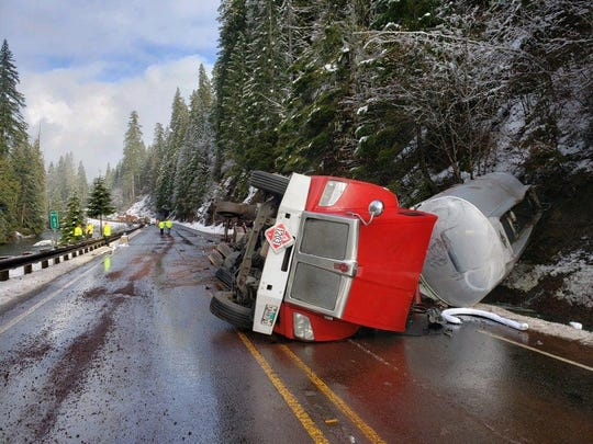 Highway 22 is closed near Detroit and Santiam Junction after a fuel tanker crashed February 16, 2020.