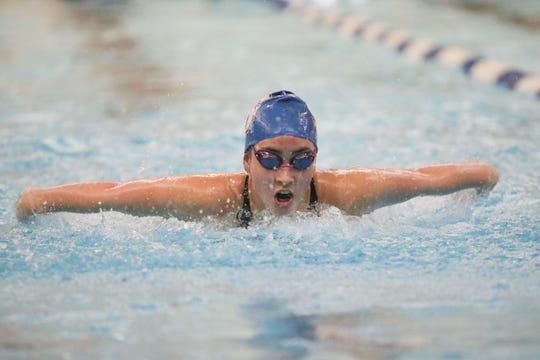 South Salem's Ava Lomax competes in the girls 200-yard individual medley at the 2020 Mountain Valley Conference district swim championship on February 15 at the Kroc Center.