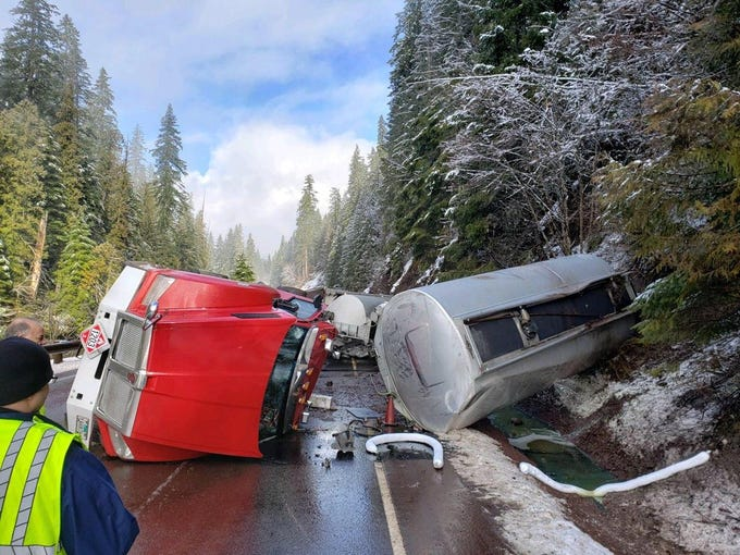 Highway 22 was closed Saturday near Detroit and Santiam Junction after a fuel tanker crashed.