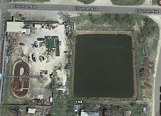 The City of Mertzon's wastewater treatment facility is seen in this Google Earth image. It is located at 550 Commerce Ave,  and the east edge of the pond is located only about 300-feet from Spring Creek. In the wake of a new larger effluent pond excavation project, many concerned citizens are wondering why it was every located so close to the river in the first place.