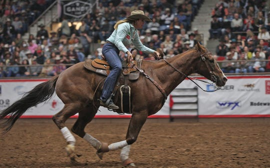 Jessie Telford competes in barrel racing at the Cinch Chute-Out at the San Angelo Stock Show and Rodeo on Saturday, Feb. 15, 2020.