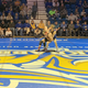 South Dakota State's Zach Price tries to take down Lawrence Saenz of Fresno State during Saturday's dual at Frost Arena. Saenz won the match by decision.