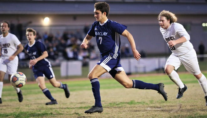 Maclay junior Mateus Bitencourt chases a through ball as the Marauders' boys soccer team beat Lake Mary Prep 8-0 in a Region 1-2A semifinal on Feb. 15, 2020.