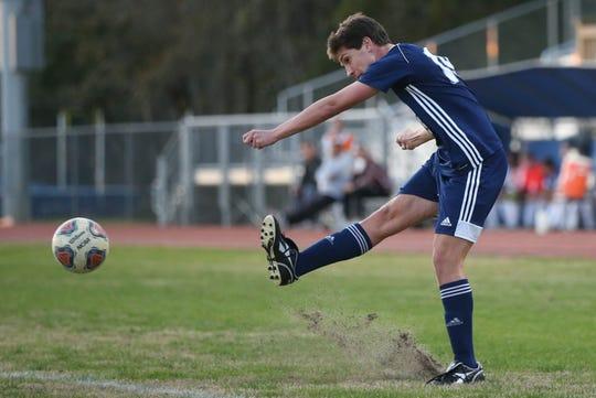 Maclay senior Luke Stockstill takes a shot as the Marauders' boys soccer team beat Lake Mary Prep 8-0 in a Region 1-2A semifinal on Feb. 15, 2020.