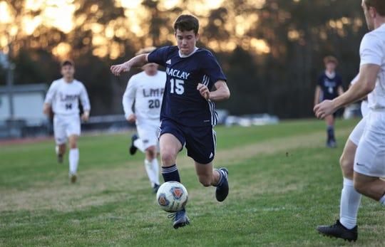 Maclay freshman RJ Hosay chases a through ball as the Marauders' boys soccer team beat Lake Mary Prep 8-0 in a Region 1-2A semifinal on Feb. 15, 2020.