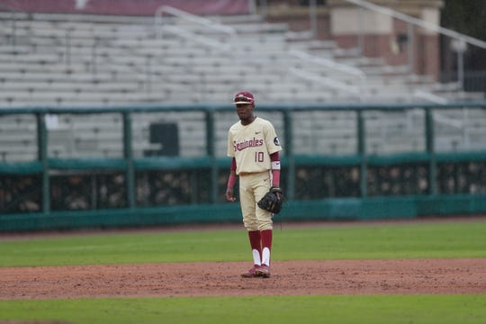 Florida State Seminoles Tyrell Brewer (10) plays infield during a rainy game between FSU and Niagara University Dick Howser Stadium Sunday, Feb. 16, 2020.