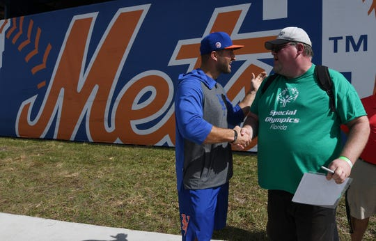 New York Mets prospect Tim Tebow greets over 75 Special Olympic athletes and their families during a baseball clinic with Mets players and coaches at Clover Park.