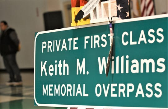 The overpass at Akers Street and Highway 198 was dedicated to Pfc. Keith Williams on Sunday, February 16, 2020.