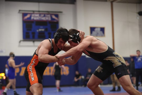 Croton's Edison Scutari and Nanuet's John Kiernan wrestle in the 195-pound weight class during the Section 1 Division II championship at Purchase College Feb. 15, 2020. Croton's Scutari won the match