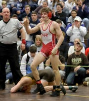 Sean Garofel of North Rockland defeated James Sullivan of Clarkstown South 9-6 to win the 132 pound championship during the Section 1 Division I wrestling championship at Clarkstown South High School Feb. 16, 2020. The win was Garcia's fourth straight sectional title.