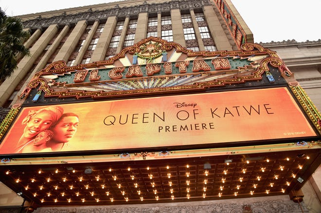 """A view of the atmosphere at the U.S. premiere of Disney's """"Queen of Katwe"""" at the El Capitan Theatre in Hollywood.  The film, starring David Oyelowo, Oscar winner Lupita NyongÂ'o and newcomer Madina Nalwanga, was directed by Mira Nair and opened in U.S. theaters in September 2016."""