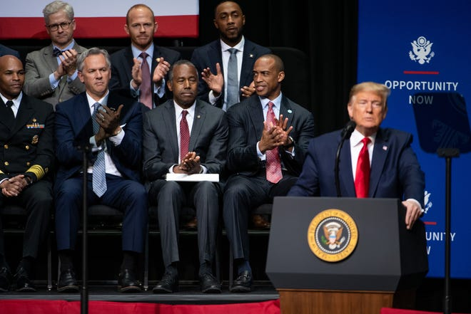 President Trump delivers remarks to Opportunity Now summit in Charlotte, North Carolina, on Feb. 7, 2020.