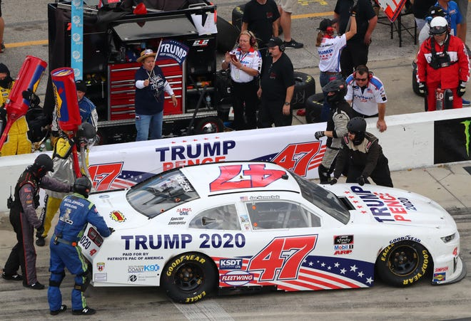 Joe Nemechek drove the No. 47 Trump 2020 Chevrolet, sponsored by Patriots PAC of America, during Saturday's NASCAR Xfinity Series opener.