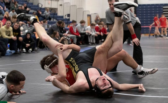 Manalapan Matt Venedetti puts a spladle on Southern's Colin Boero in their 160 lbs. bout. Southern Regional wrestling defeats Manalapan in NJSIAA State Team Group V Wrestling Final in Toms River, NJ on February 16, 2020.