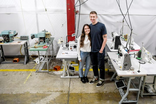 Amanda and Justin James, owners of Opie Way footwear in their micro-manufacturing facility January 15, 2020.
