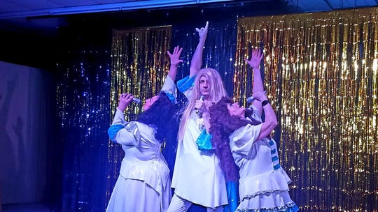 "Nita Wilson (from left), Eli Ghorley and Vicki Richards do Donna and the Dynamos during a ""Mamma Mia!"" parody."