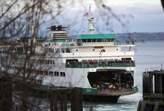 The Washington State Ferry Tacoma docks at Bainbridge Island on Friday, Feb. 14. 2020.