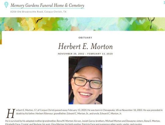 Herbert E. Morton, 17, was fatally shot on Feb. 13, 2020 in the 2200 block of Carolyn Drive.