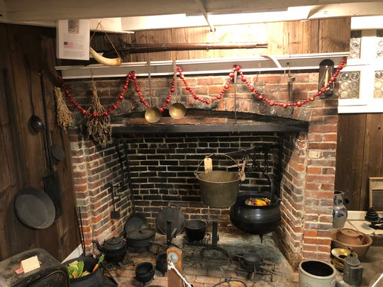 This Colonial fireplace was rescued from Hugg's Tavern in Gloucester City just before the building was demolished. Sybil Tatum Jones, the live-in curator of the Gloucester County Historical Society museum in Woodbury, had it rebuilt in the museum's basement.