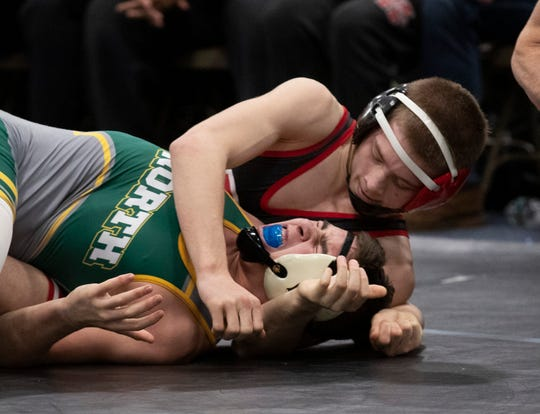 Kingsway McKenzie Bell defeats Hunterdon Central Daniel DeLusant in their 126 lbs. bout. North Hunterdon vs Kingsway in NJSIAA State Team Group IV Wrestling Final in Toms River, NJ on February 16, 2020.