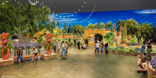 Vibrant colors in this artist rendering accentuate what will be the entrance to Riviera Holiday, the theme of this year's Philadelphia Flower Show when it opens Feb. 29 at the Philadelphia Convention Center through March 8.