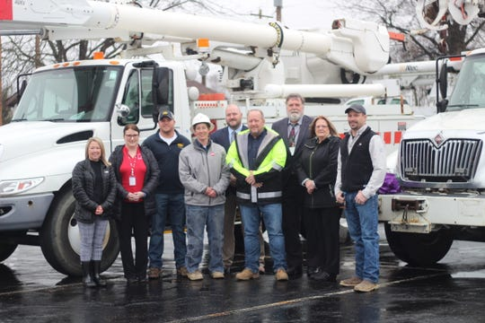 Representatives of Pickaway-Ross Career & Technology Center, Pickaway-Ross Adult Education and AEP were at the career center's Crouse Chapel Road campus last week to accept a donation of two trucks. AEP donated a digger truck and a bucket truck to Adult Education's Power Lineman program. AEP has collaborated with Adult Education's Power Lineman program for more than 10 years.