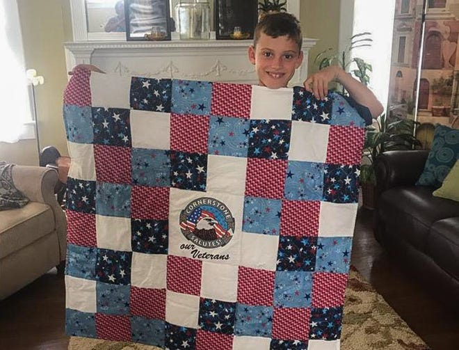 Brayden White spent eight weeks creating a quilt for a veteran after he was inspired by his grandmother JoAnn White. The quilt was sent to a resident of Cornerstone Hospice in Central Florida.