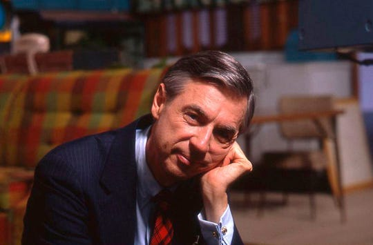 "Fred Rogers on the set of his show ""Mr. Rogers Neighborhood"" from the film, ""Won't You Be My Neighbor."""