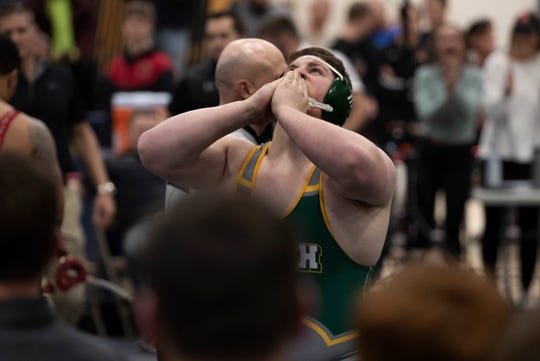 North Hunterdon heavyweight Liam Akers celebrates after winning his heavyweight match. North Hunterdon vs Kingsway in NJSIAA State Team Group IV Wrestling Final in Toms River, NJ on February 16, 2020.