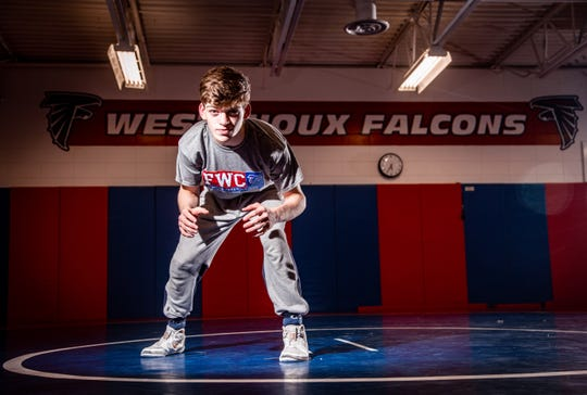 West Sioux senior Adam Allard stands for a photo after practice Thursday, Feb. 13, 2020. Allard is aiming to become a four-time state champion.