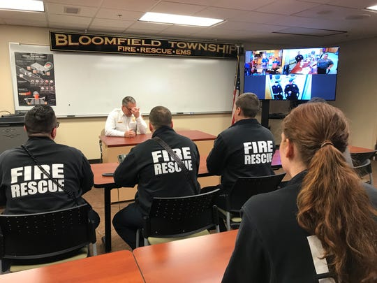 Bloomfield Township Fire Chief Mike Morin pauses as he speaks to firefighter/paramedics on Feb. 14, 2020 about their fear that the township's police-and-fire millage may fail.