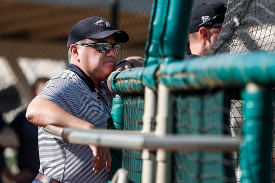 Detroit Tigers general manager Al Avila watches spring training at TigerTown in Lakeland, Fla., Sunday, Feb. 16, 2020.