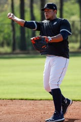 Miguel Cabrera practices during Detroit Tigers spring training at TigerTown in Lakeland, Fla., Monday, Feb. 17, 2020.