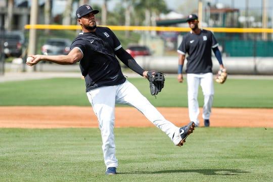 Third baseman Jeimer Candelario practices during Detroit Tigers spring training at TigerTown in Lakeland, Fla., Monday, Feb. 17, 2020.