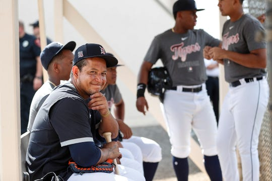 Miguel Cabrera talks to minor league players during Detroit Tigers spring training at TigerTown in Lakeland, Fla., Monday, Feb. 17, 2020.