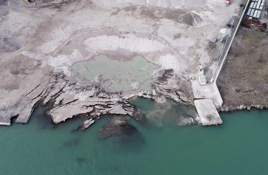An aerial view, as seen on Saturday, Dec. 7, 2019, of the Detroit property located next to Historic Fort Wayne, where on Nov. 26 2019, the ground,  contaminated with uranium and other dangerous chemicals, partially collapsed into the Detroit River.