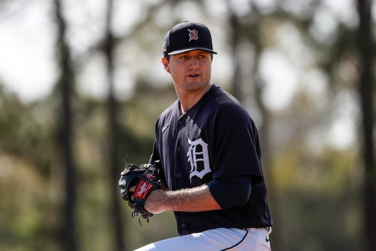 Pitcher Casey Mize practices during Detroit Tigers spring training at TigerTown in Lakeland, Fla., Sunday, Feb. 16, 2020.
