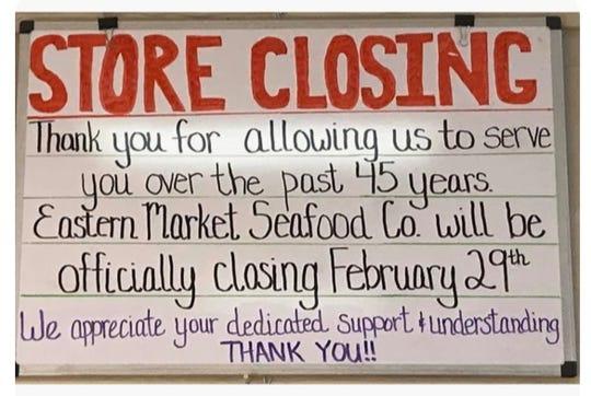 Eastern Market Seafood Company will close Feb. 29, 2020.