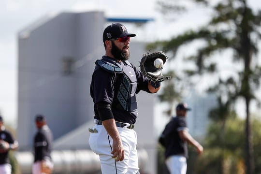 Catcher Austin Romine practices during Detroit Tigers spring training at TigerTown in Lakeland, Fla., Monday, Feb. 17, 2020.