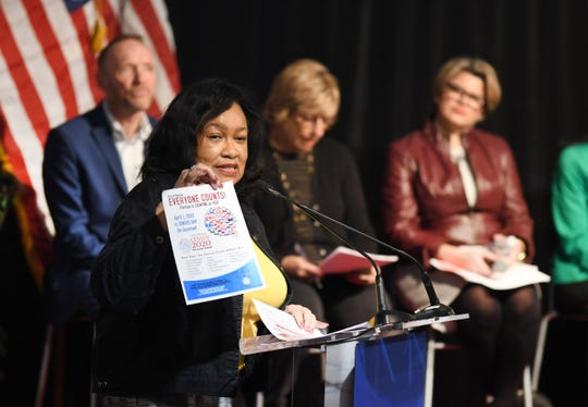 "Pontiac Mayor Deirdre Holloway Waterman helps kick off for the ""Be Counted"" campaign for the Michigan Census in Pontiac on Monday."