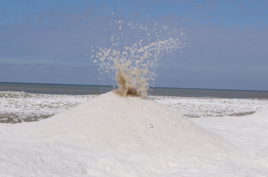 "An ""ice volcano"" that erupted near Saugatuck."