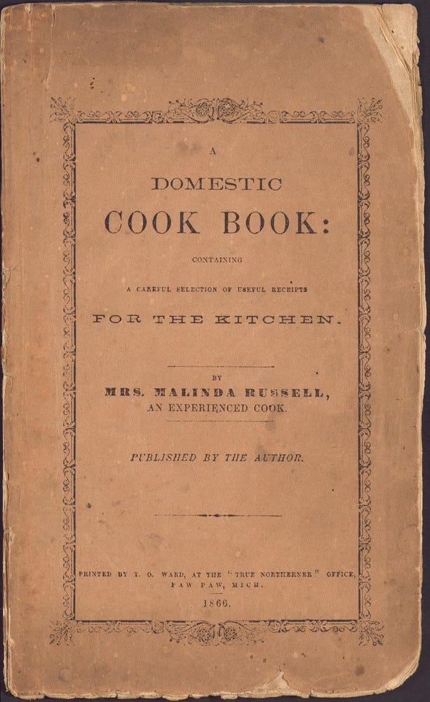 1866 : First African-American Cookbook Published in Michigan