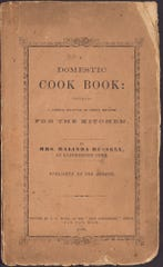 "The cover of the ""Domestic Cook Book"" by Malinda Russell, published by the author in 1866."