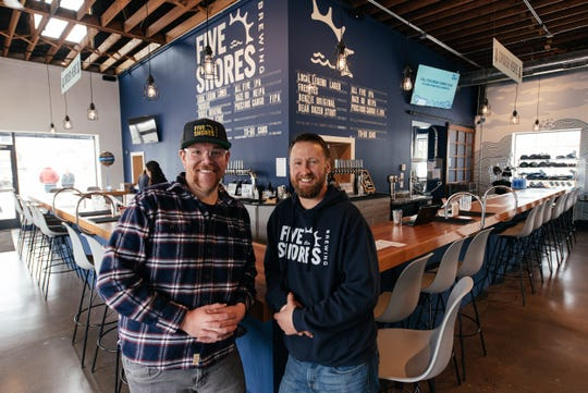 Five Shores Brewing co-founders Matt Demorest and Oliver Roberts .