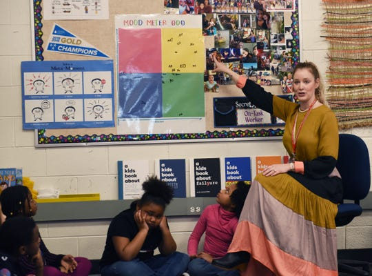 "Ferndale Upper Elementary teacher Jodi Prince discusses the color-coded board that reflects the mood and energy level of her third-graders. ""It's really important to know our students on a deeper level,"" she said."
