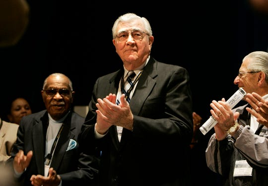 Past UAW president Owen Bieber on the stage during the UAW Special Convention on Collective Bargaining at Cobo Center in Detroit on March 27, 2007.