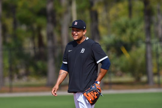 Miguel Cabrera takes some grounders on Monday in Lakeland, Fla.