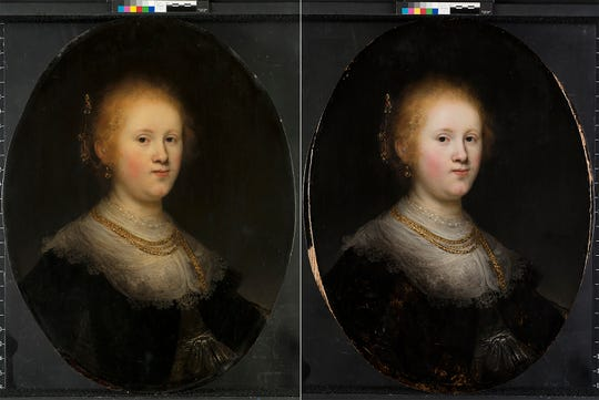 "This photo combo provided by Allentown Art Museum shows before, left, and after restoration of a painting called ""Portrait of a Young Woman.""  Thanks to modern technology and some expert detective work, the 1632 painting that had long been attributed to an unknown artist has been judged to have been a work of the Dutch master Rembrandt."