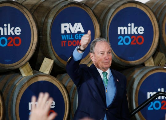 Democratic presidential candidate Mike Bloomberg gives his thumbs-up after speaking during a campaign event at Hardywood Park Craft Brewery in Richmond, Va., Saturday, Feb. 15, 2020.